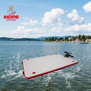 Image 2 - Dwf da Pesca Galleggiante Acqua Piattaforma Resistente Allusura Gonfiabile Air Deck Goccia Punto Dock + Pagaia + Mano  pompa per 1 3 Persone