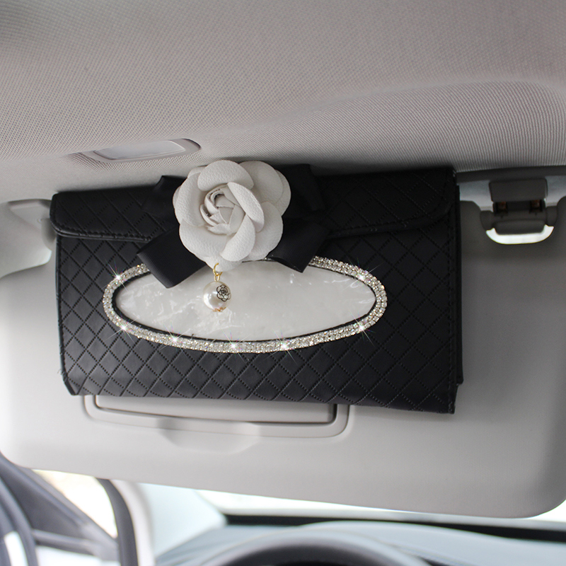 Camellia Car Sun Visor Tissue Box Leather Hanging Auto Tissue Holder Flower For Girls Crystal Rhinestone Auto Tissue Paper Bag