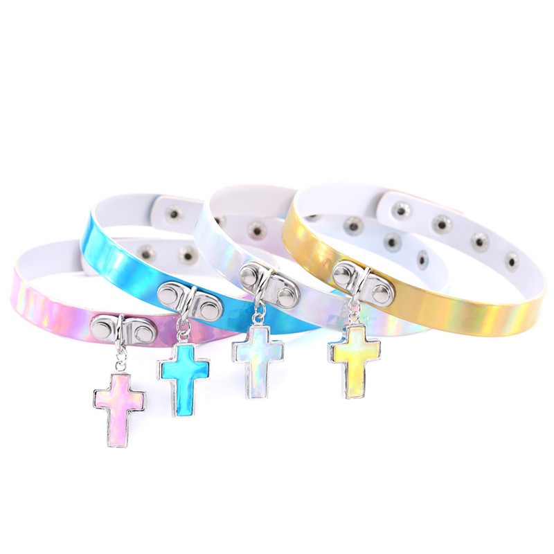 Simple Stylish Style PU Leather Laser Holographic Collar Choker Necklace With Cross Pendant Charm For Female Punk Party Jewelry