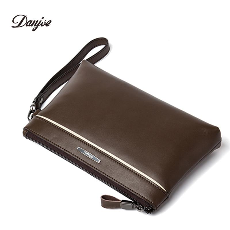 DANJUE Genuine Leather Men Day Clutches Bag Brand High Quality Handy Bag New Business Fashion Men Big Wallet Fashion Purse