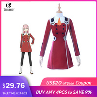 ROLECOS DARLING 02 Zero Two Cosplay Costume DARLING in the FRANXX Cosplay DFXX Women Costume Full Sets ( Dress + Headwear )