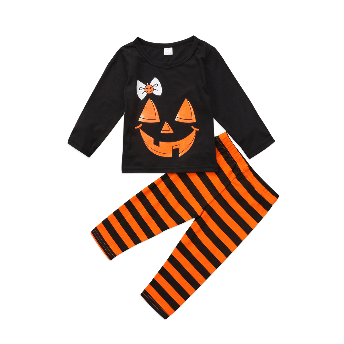 Toddler Baby Kids Girl Halloween Clothes Set Long Sleeve Print T-shirt Tops+Long Stripe Pants 2017 Newest Outfit Set