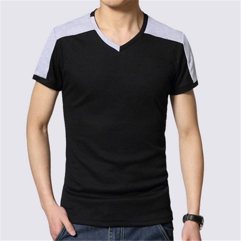 fashion men short sleeve t shirts 2016 contrast color v neck tee tops for men