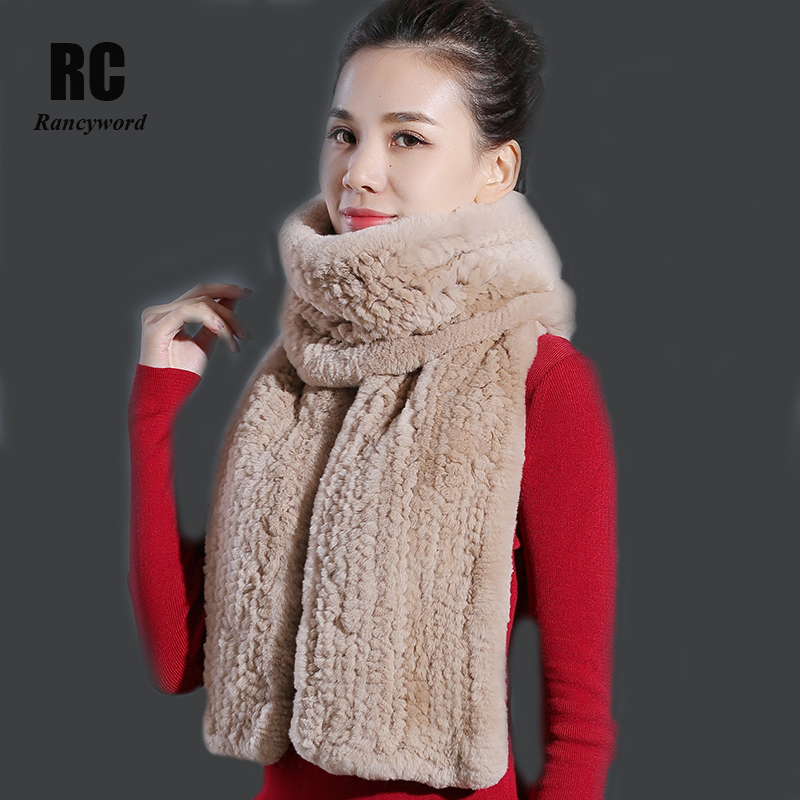 Rancyword Winter Women Scarf Natural Fur Scarves Real Rex Rabbit Fur Pashmina Solid Brand Thick