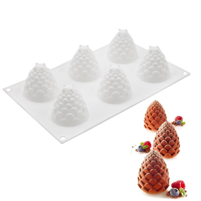 3D Gâteau Décoration Outils Silicone Moules 6 Trous Des Pommes de Pin Forme Outil de Cuisson Pour Gâteaux au chocolat Mousse Crème Glacée Dessert