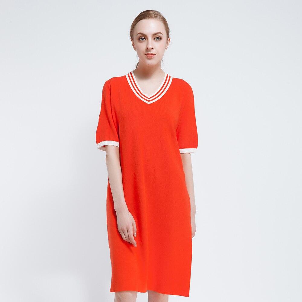 2017 Summer Dress Women Long Pullovers Womens Knitted Dresses Spring Sweaters Vestidos Half Sleeve Knee-Length Loose Knitwear женское платье summer dress 2015cute o women dress