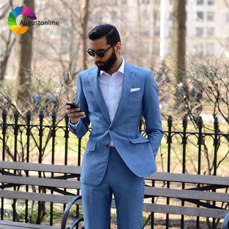 カスタムメイドブルー男性が結婚式の新郎タキシード 2 ピースジャケット最高の男性が花婿の付添人ブレザーウェディング