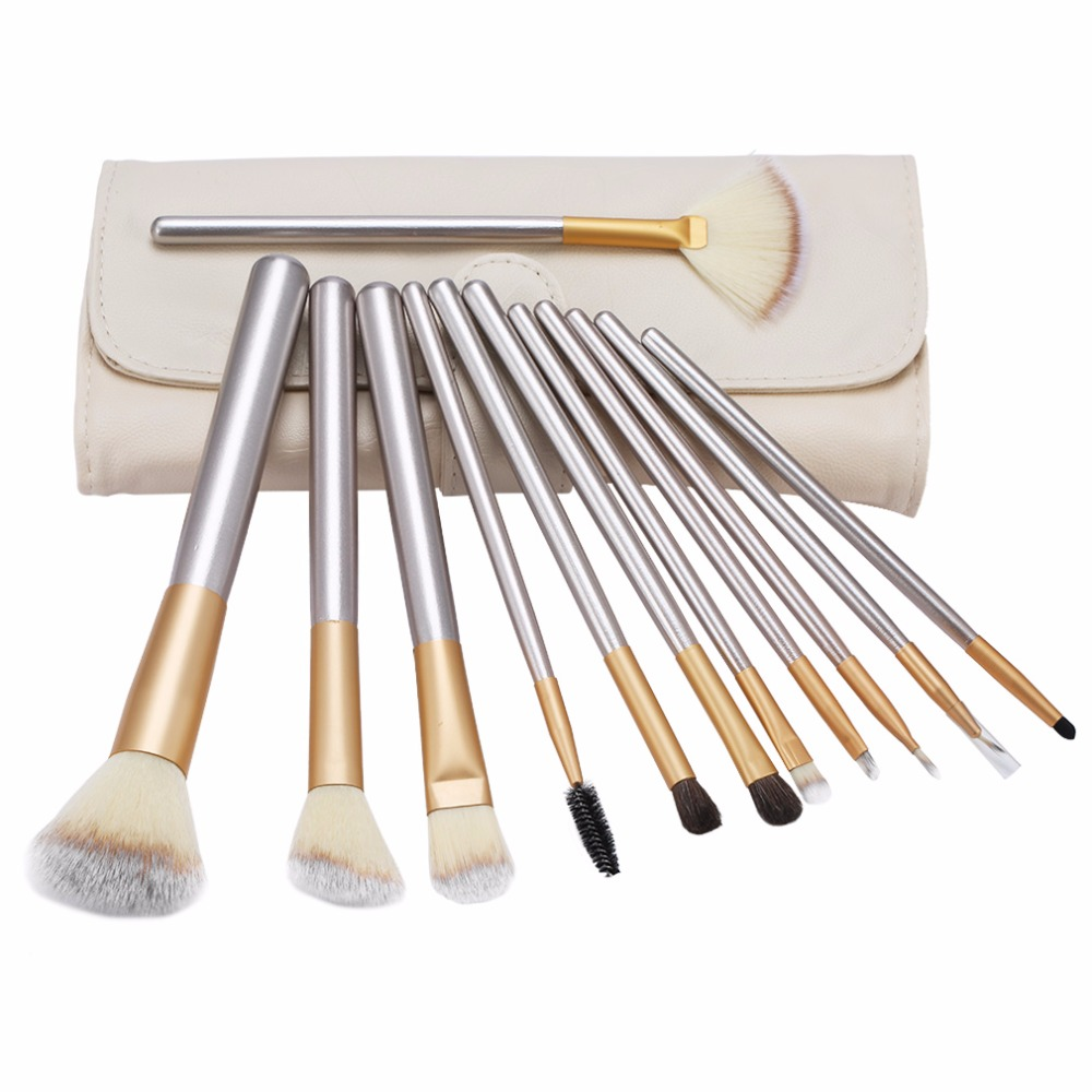 12pcs/set Classic Beige Wood Handle Cosmetic Professional Makeup Brushes Set Kit Powder Foundation Eyeshadow Face Make Up Brush objective key student s book without answers cd rom