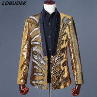Formal Men Colorful Sequins Jacket Blazer Coat Fashion Slim Outerwear Prom Party Male Singer Host Stage Costume Performance Wear
