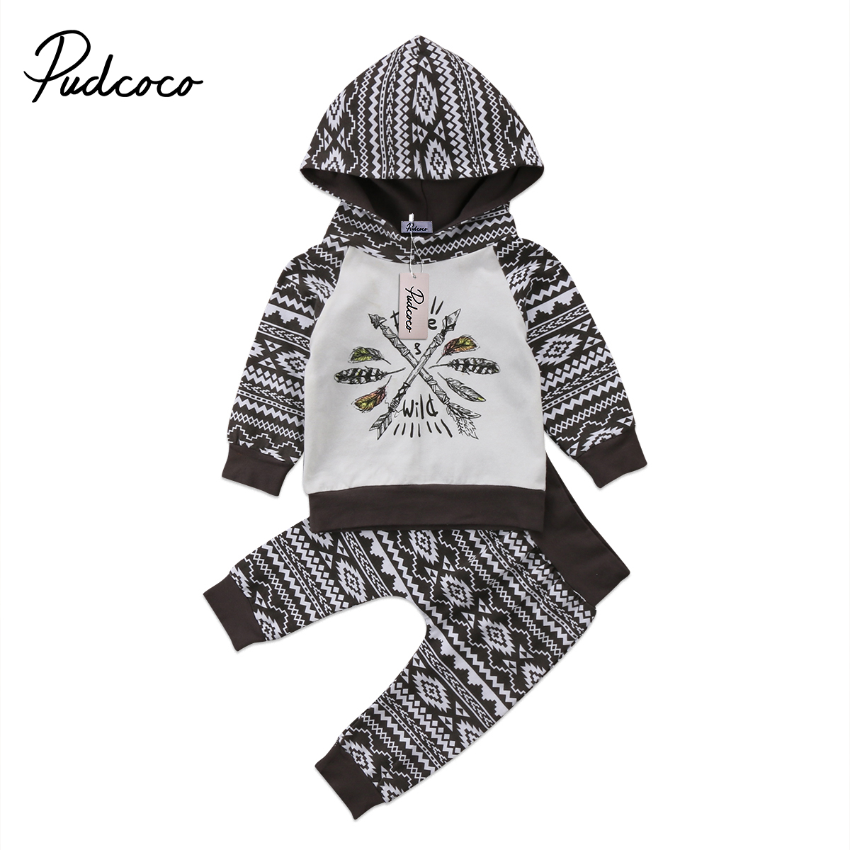 2018 Brand New Toddler Newborn Infant Baby Boy Hooded Shirt Tops Pants Outfits Clothes 2PCS Sets Casual Clothes Tribe Outfits newborn kids baby boy summer clothes set t shirt tops pants outfits boys sets 2pcs 0 3y camouflage