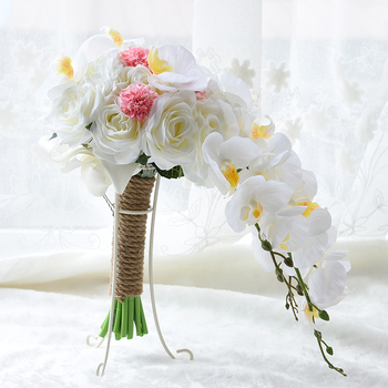 NZUK 2018 Free Shipping Bridal Bouquets De Mariage Roses Orchid Artificial Silk Flower Handmade Wedding Bouquet