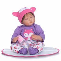 Nicery 20 22inch 50 55cm Bebe Reborn Doll Soft Silicone Boy Girl Toy Reborn Baby Doll Gift for Children Present Sleep Pink Fox