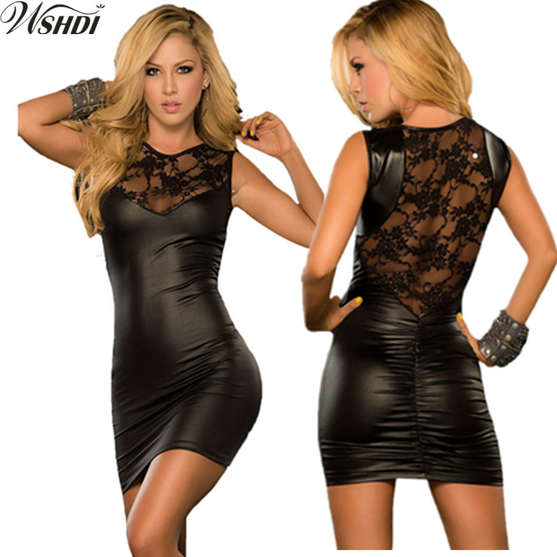 Black Red Sexy Lace Mini Dress Slim Wet Look Fetish Bondage Vinyl PU Leather Dress Faux Leather Bodycon Vestidos