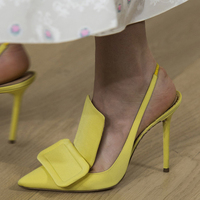Zapatos Mujer Black Yellow Shoes Woman High Heel Elegant Lady Pointed Toe Stiletto Big Buckle Slingback Gladiator Party Pumps