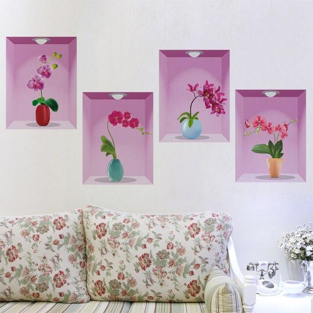 Charmant 3D Peinture Salon Canapé Fond Mur Wallpaperation Stickers Muraux Chambre  Chaud Vase Simulation Fleurs En Pot