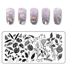 Wakefulness прямоугольник ногтей штамповки пластины цветок листья