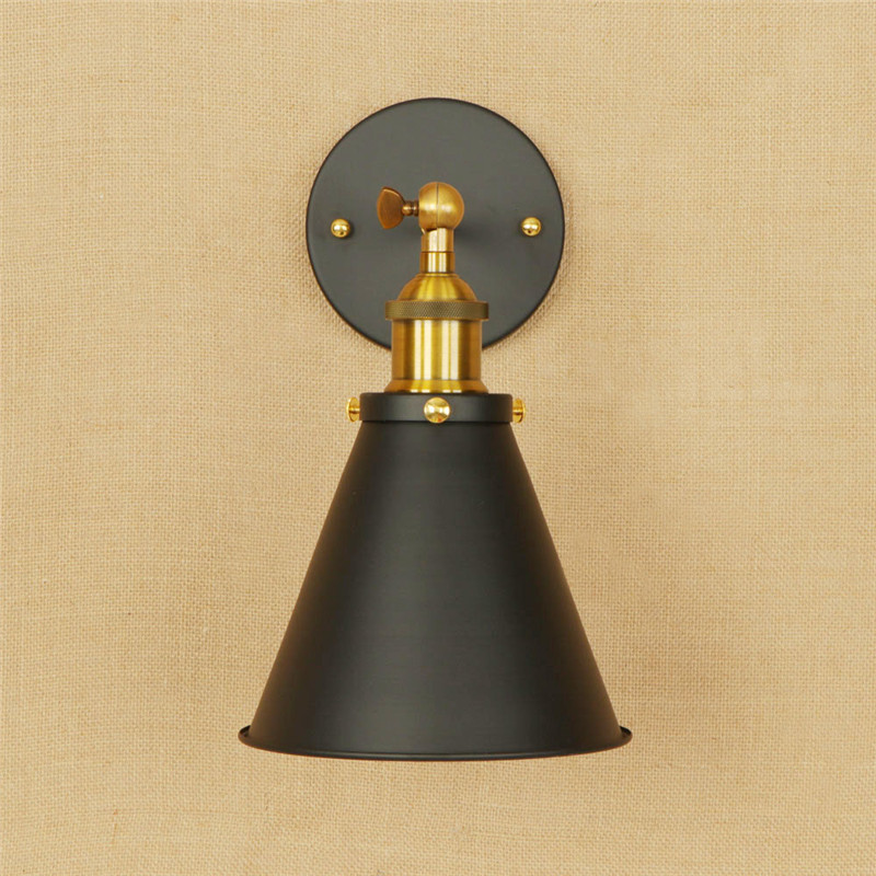 Industrial Vintage LED Wall Light Iron Adjust Bedroom Wall Lamp Black Loft Antique Lights Wall Sconce Deco Home Lampara Pared