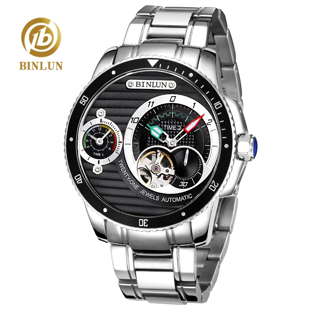 BINLUN Men's Sports Automatic Watch 5Bar Diving Timing Watch Scratch-proof Sapphire Glass Double Dial Skeleton Automatic Watches цена и фото