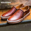[krusdan]new Men's Genuine Leather Flat British Retro Style Shoes Solid Leisure Loafers For Male Casual Driving Flats Size38-44