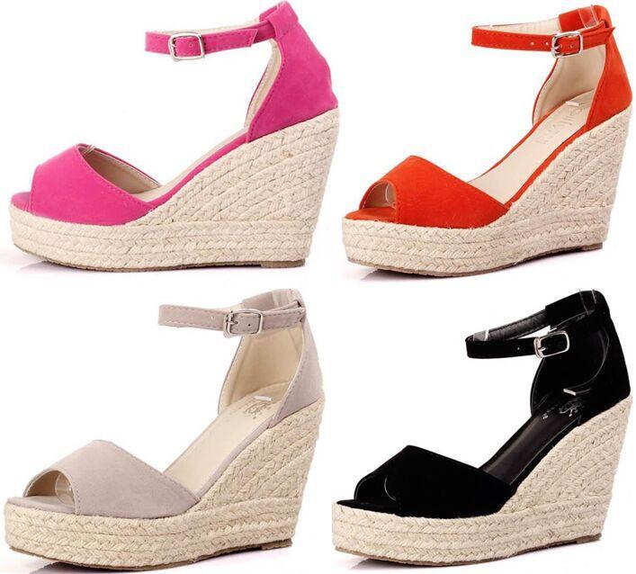 fashion women open peep toe wedges sandals Elegant platform velvet ... b832c9bd7357