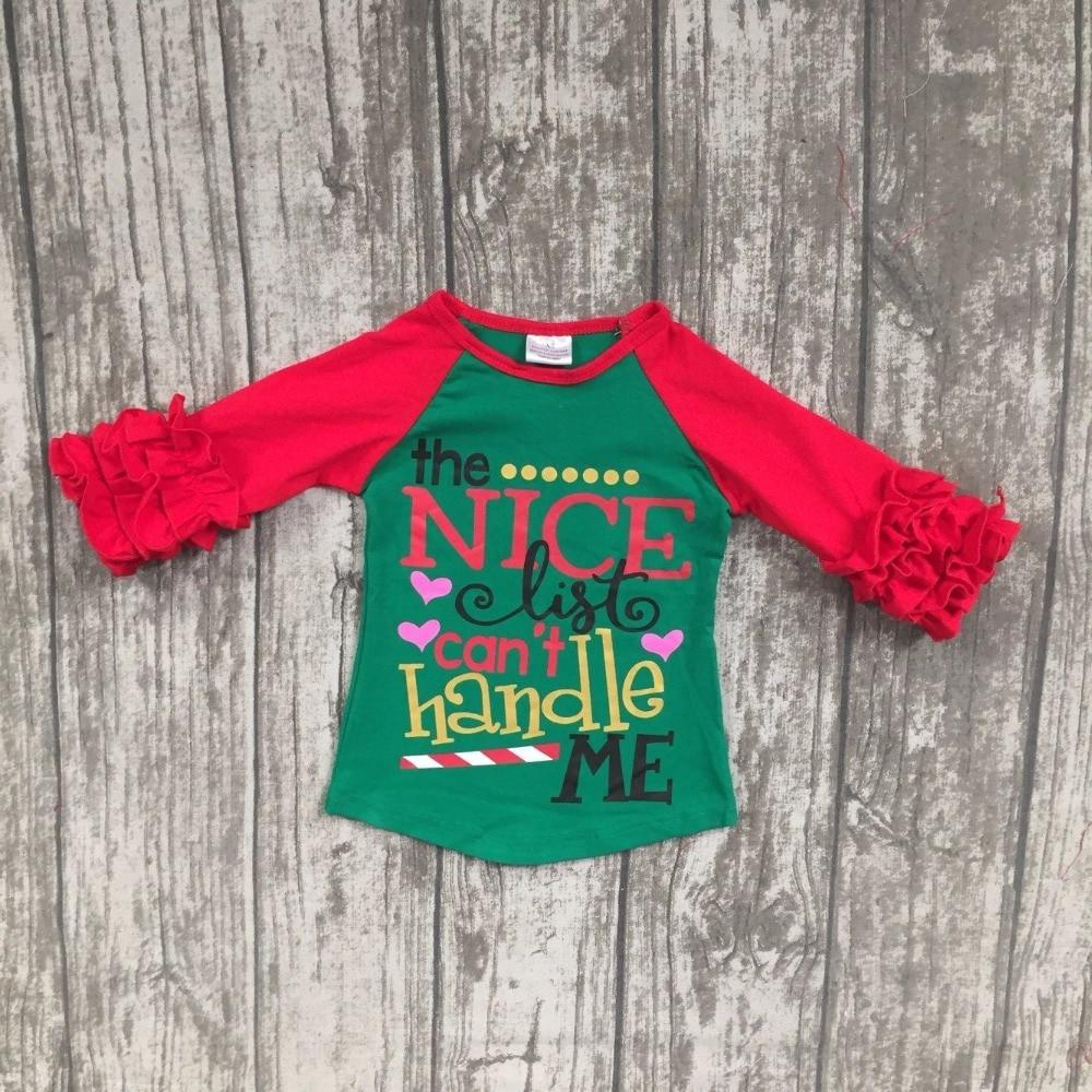 Christmas Fall/winter baby girls clothes girls the nice list can't handle me raglans children red sleeve raglan tee T shirts
