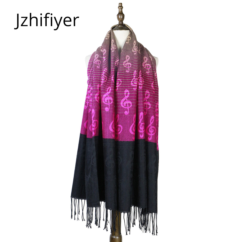 шарфы женские Winter Women Scarf Cashmere Wool Shawls Wrap Music G-clefs Pashmina Bandana Fringe