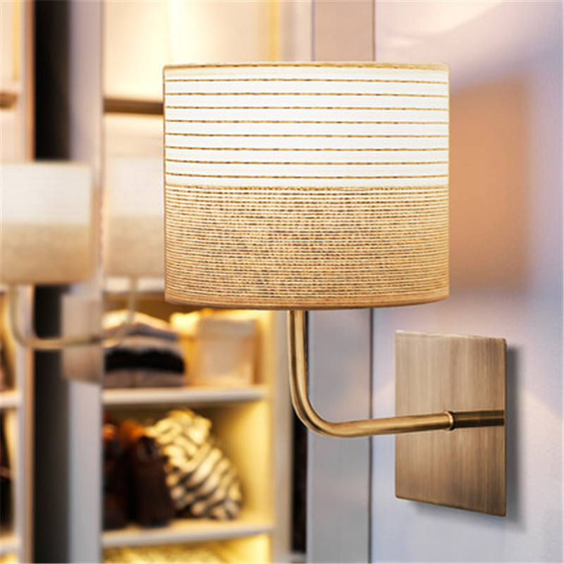 Американский Стиль Современные настенные бра светодиодный настенный светильник Творческий Ткань прикроватная Настенные светильники дома