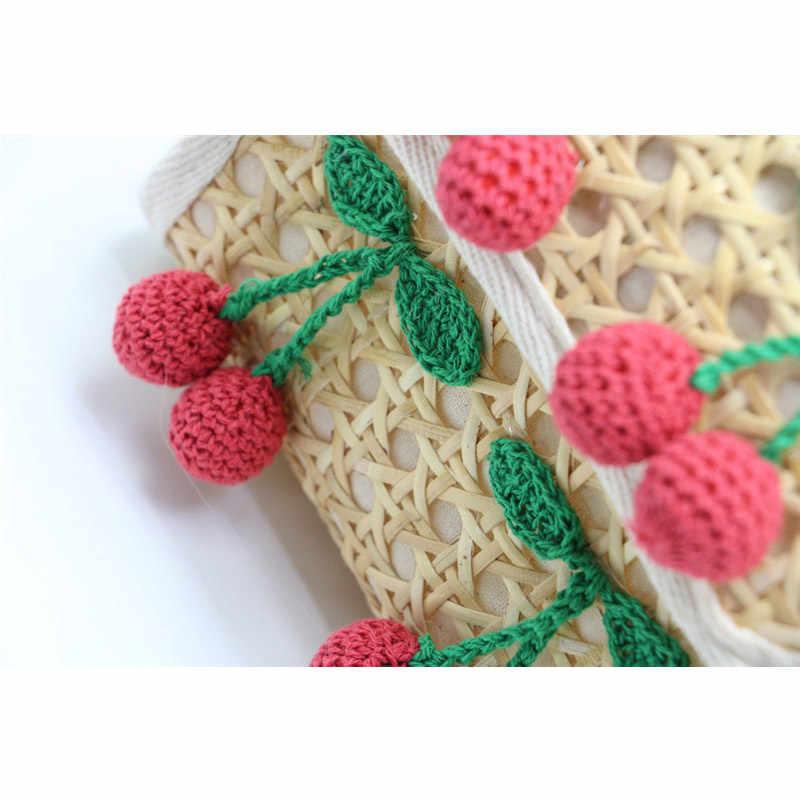 Pure Natural Pequeno Saco Rattan Saco Tecido Saco de Tecido De Vime Pompom Saco Handmade Saco Tecido Palha Boêmio Praia Verão