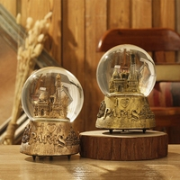 Home Decoration Letter Pattern terrarium Desktop Crystal Ball Music Box Snow Globe Unique Tower Light Crystal Ball With Snow
