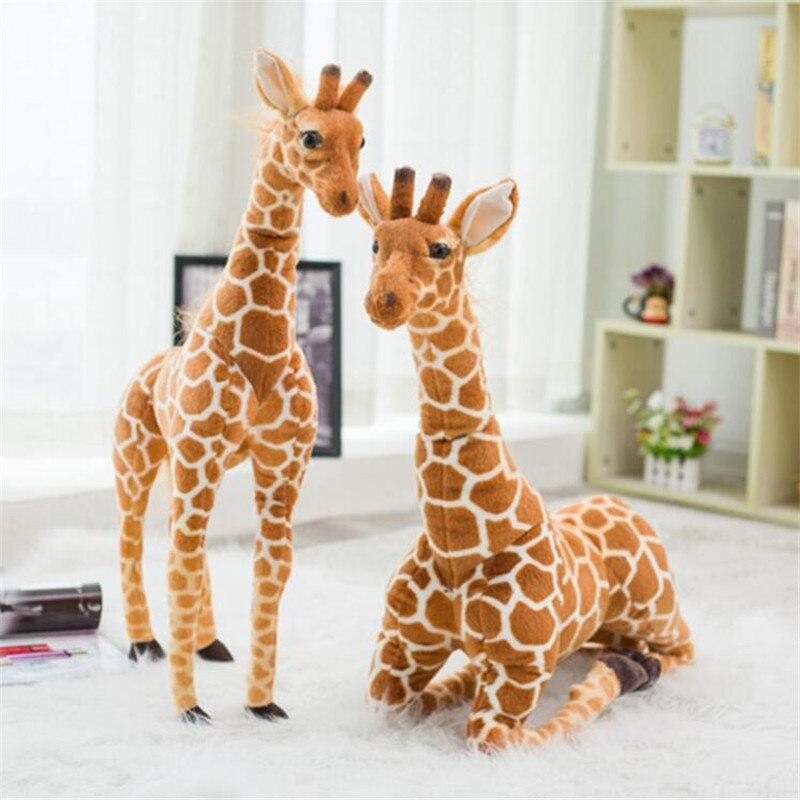 Enorme vida real girafa brinquedos de pelúcia bonito animal de pelúcia bonecas simulação macia girafa boneca natal presente aniversário crianças brinquedo