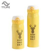 TTLIFE 350/450 ML Padrão Veados Amarelo Café Drinkware Garrafa de Isolamento de Aço Inoxidável Garrafa Térmica Garrafa Térmica de Viagem Portátil