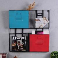 American European simple iron office multi layer magazine newspaper rack wall hanging storage basket wall hanging
