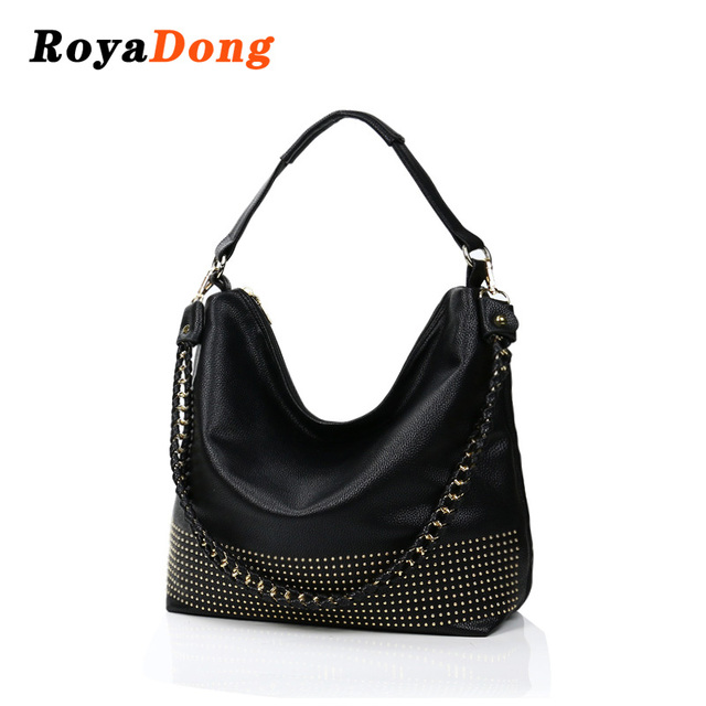 c678a6c721d RoyaDong Famous Brand 2019 New Hobos Women Bags Rivet Female Handbags  Shoulder Bag Lady Big Handbag Soft Leather Tote Bags