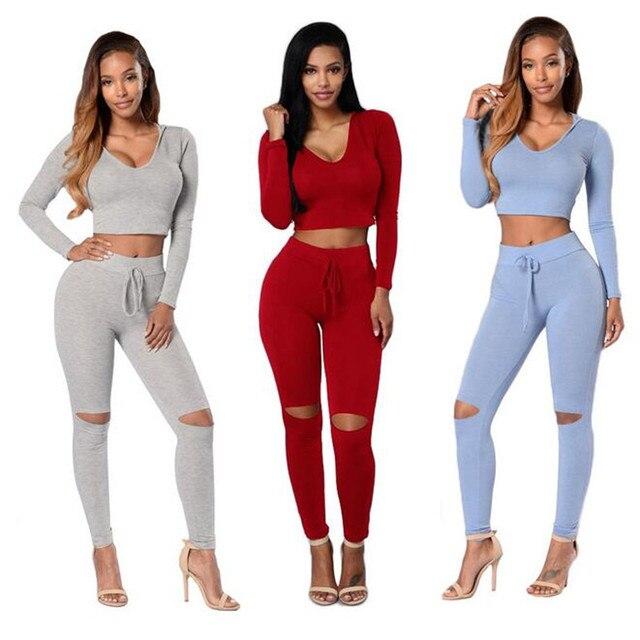 Nueva Moda de Dos Piezas Set Mujeres Del Desgaste Del Club Ropa Sexy Capucha Crop Tops Y Pantalones de Manga Larga de Dos Piezas de Trajes Para Mujer Conjuntos