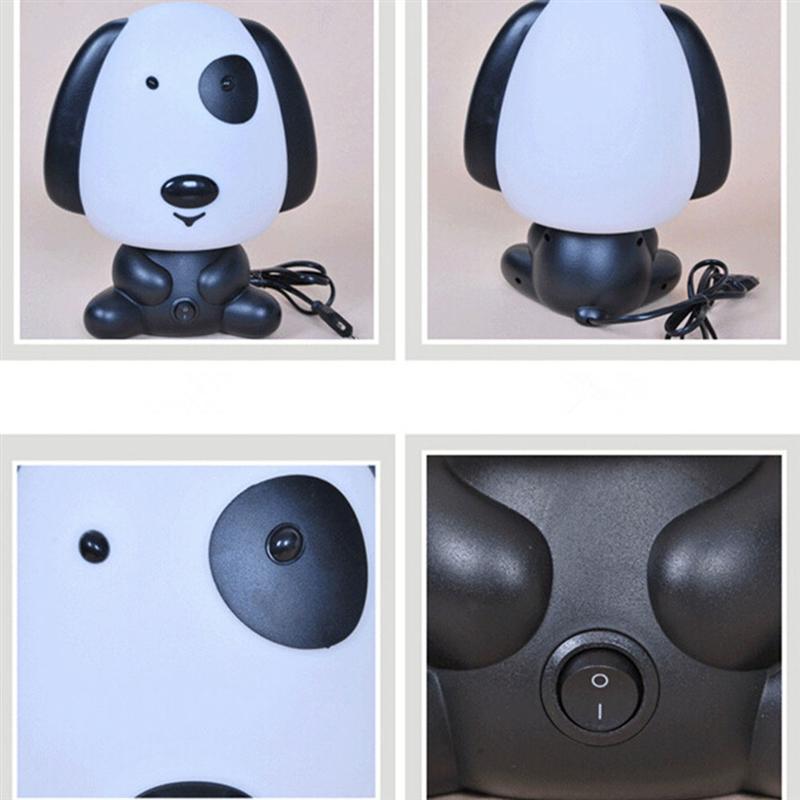Милая собака мультфильм животных Night Light Симпатичные настольная лампа дети спальный номер ночника (черный с ЕС Plug)