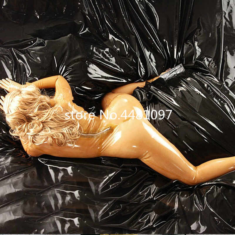 Pure 100% Latex Suit Rubber Transparent Sexy Bodysuit Catsuit Full Body with Socks lingerie bodysuit