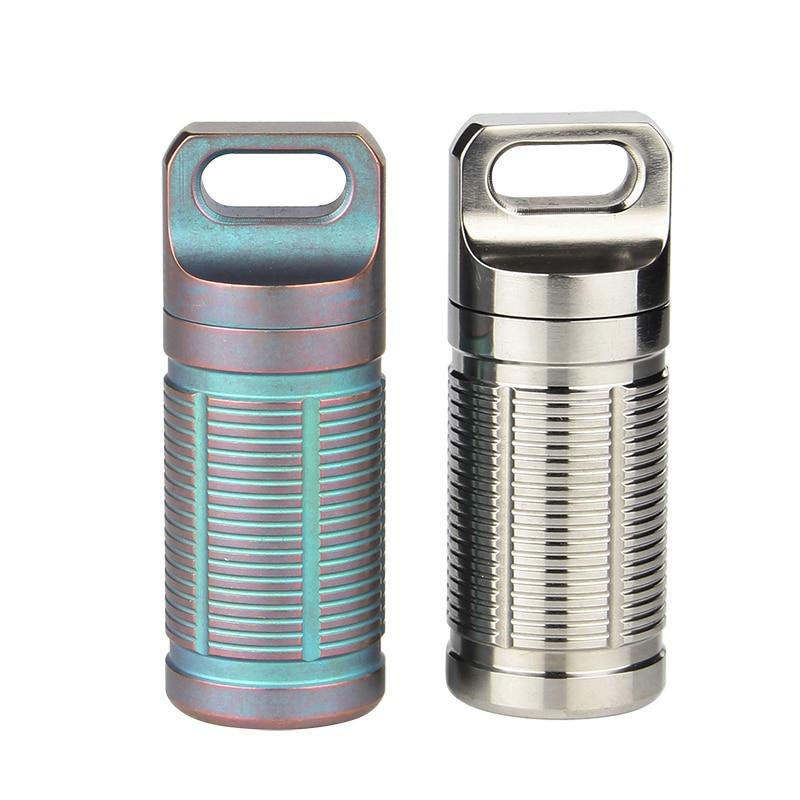 Ti artisan Portable Titanium Pill box Case Waterproof Battery Storage Ultralight Titanium Container Ta6110Ti