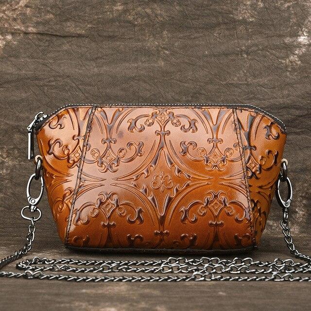 High Quality Genuine Leather Women Messenger Shoulder Bags Natural Skin Embossed Luxury Vintage Mini Female Crossbody Bag