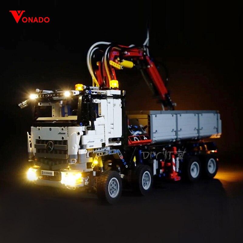 مصباح ليد ل ليغو 42043 بناء الطوب كتل متوافق 20005 تكنيك و Arocs 3245 شاحنة سيارات لعب (ضوء مع صندوق بطارية)-في حواجز من الألعاب والهوايات على  مجموعة 1
