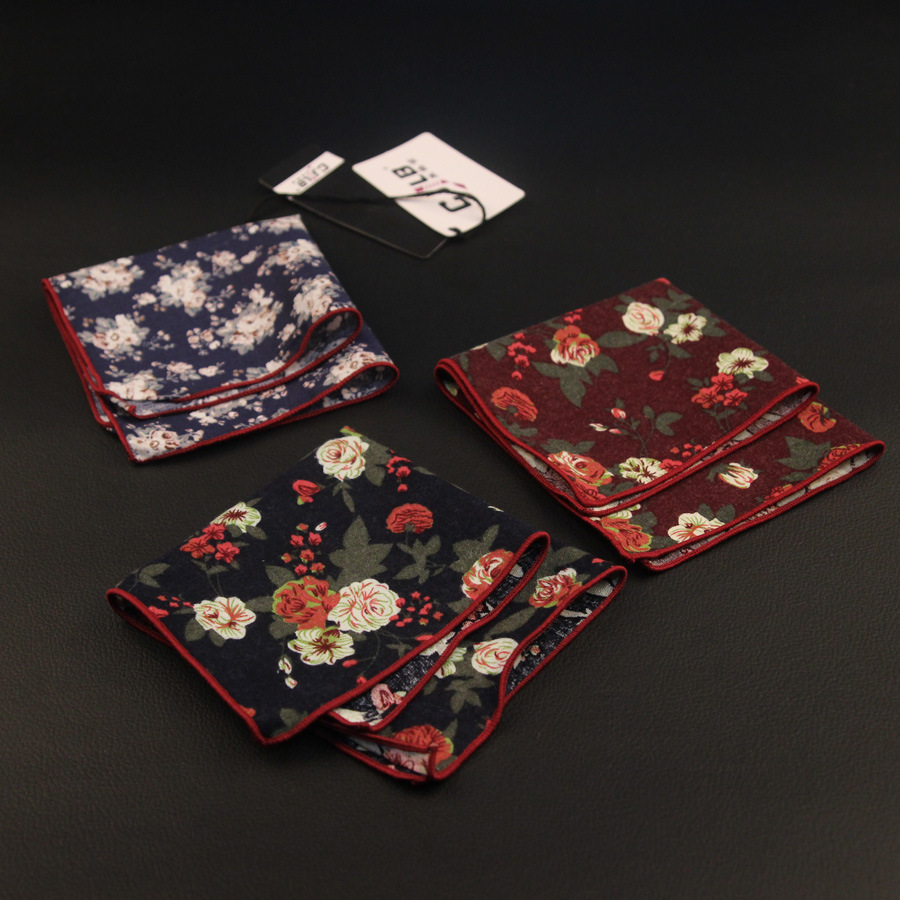 22color New Korean Fashion Designer High Quality Mens Pocket Squares Handkerchiefs Print Flower Cotton 24x24cm 50pcs/lot