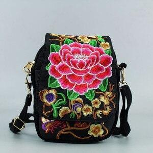 Женская сумка через плечо, сумка для путешествий, винтажная Цветочная вышитая сумка через плечо на молнии