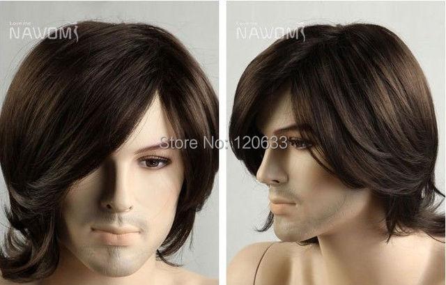 Dark Brown Curly Hair Men S Wig Pop Art Men With Hair Cos Kanekalon