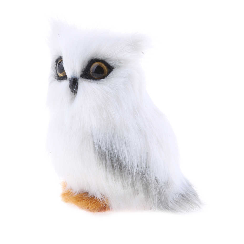 Mini Simulation Owl Animal Home Decoration Simulation Artificial Owl White