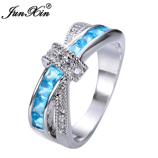 JUNXIN Light Blue Cross Ring Fashion White & Black Gold Filled Jewelry Vintage Wedding Rings For Women Birthday Stone Gifts