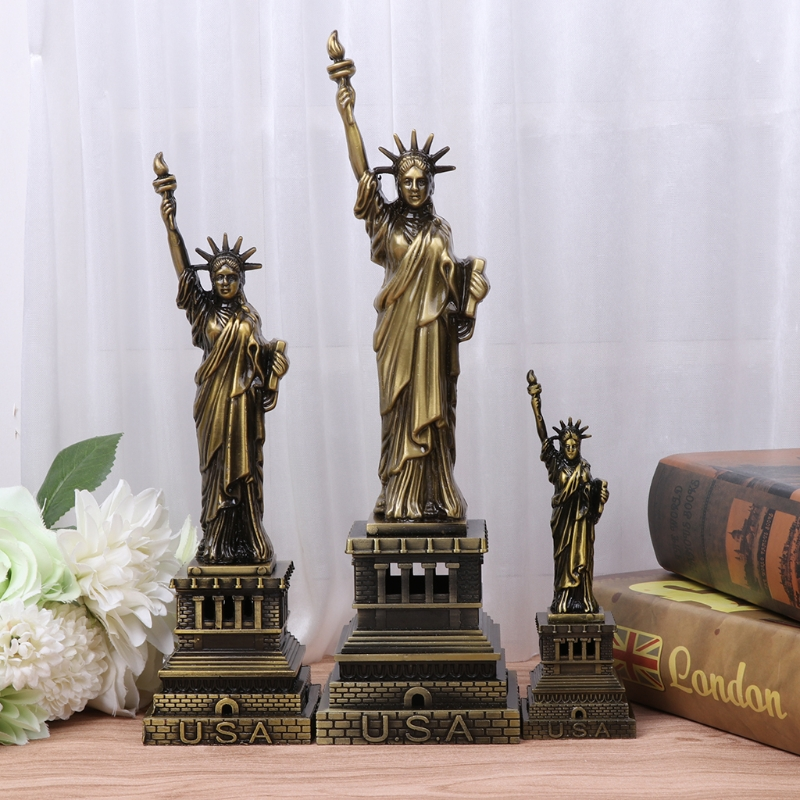 USA Landmarks Statue of Liberty Metal Model Desk Decoration Gadget Craft Gift W30
