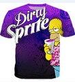 Lo nuevo Sucio Sprite 3D Camiseta Púrpura Bebió PROMETAZINA CODEÍNA Magra Estilo T Camisa de Las Mujeres de Los Hombres Del Verano Camisetas Tops Tees Hip Hop