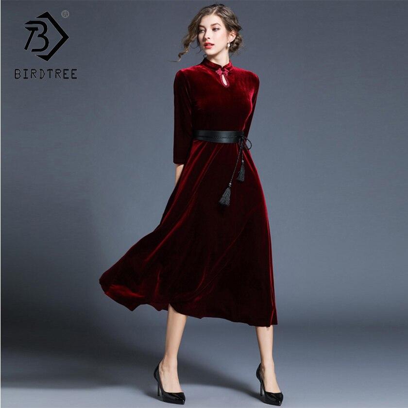 Новое поступление 2018 года, зимние женские платья с круглым вырезом, модная бархатная одежда средней элегантности с длинными рукавами и пояс...