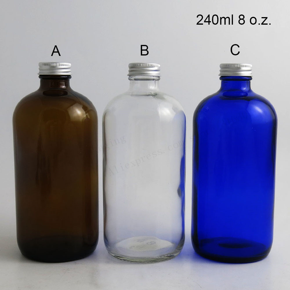 100 x 240ml Big Refillable Boston Round Glass Bottle with Aluminum Cap 8oz Blue Amber Clear