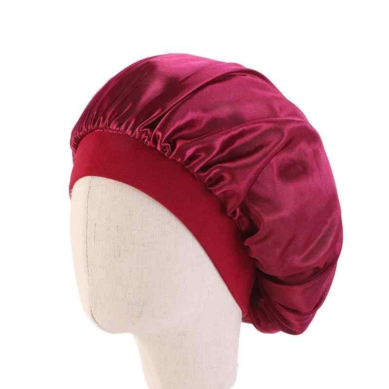 Kid Silk Satin Bonnet Cap Cover Chemo Hat Wide Elastic Band Night Sleep Headwrap