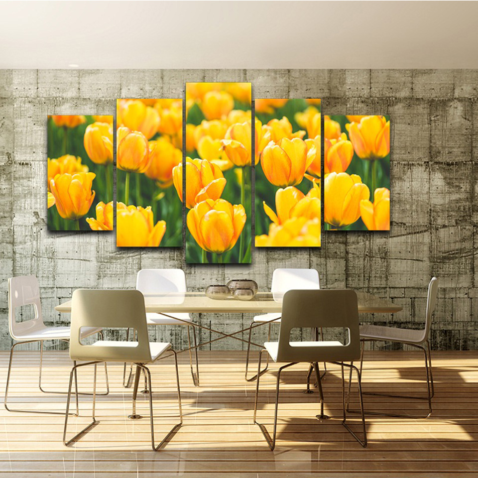 Canvas Wall Art Pictures Living Room Home Decor 5 Pieces Yellow ...